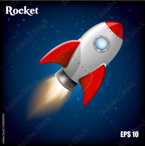 rocket ship vector illustration with 3d flying rocket space travel to the moon space rocket. Black Bedroom Furniture Sets. Home Design Ideas