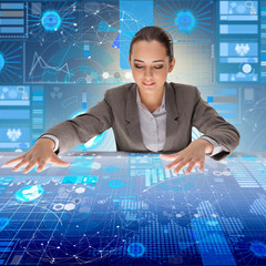 Woman in futuristic data mining concept