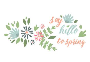 Spring typographic flower badge design vector illustration.