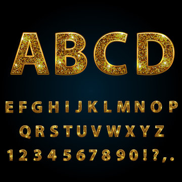 Golden sparkle  glitter, rhinestone alphabet letters numbers and signs currency