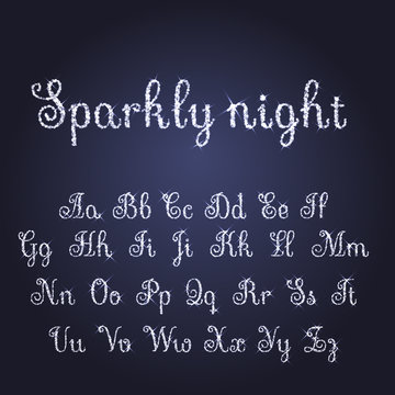 Vector shining luxury beautiful calligraphic silver and snow alphabet font set of glittering sparkles. Glitter font. Silver sparkle, glitter, rhinestone alphabet letters. Vector illustration. EPS 10