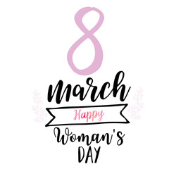 8 march womens day greeting card with lettering typography text sign, big sketch eight isolated on white background