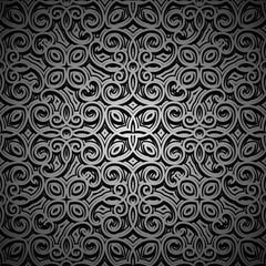 Vintage black background, silver pattern