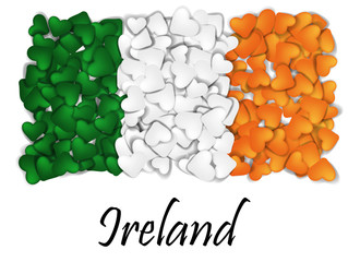 Love Ireland. Flag Heart Glossy. With love from Ireland. Made in Ireland. Saint Patrick flag. Ireland national independence day. Sport team flag