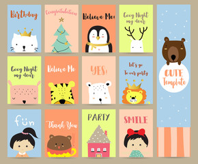 Pink blue green collection for banners,Flyers,Placards with bear,cat,reindeer,lion,tiger,girl,house and christmas tree