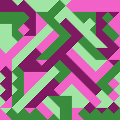 Vector illustration of a seamless pattern of simple geometric objects in direct green, light green, crimson and pink colors