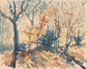 Herbstwald, Aquarell