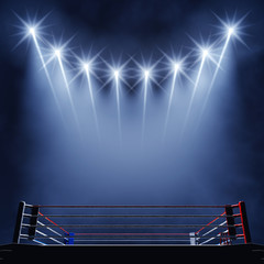 Boxing ring and floodlights , Boxing fight arena
