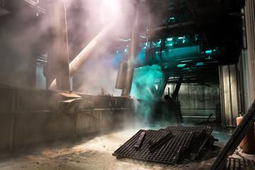 Interior of factory,dark debris factory premises,basement