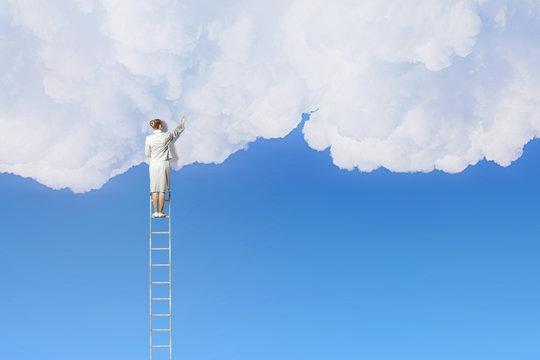 Woman climbing ladder    . Mixed media