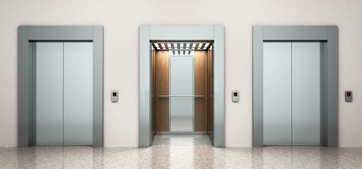 modern steel elevatore 3d rendering image