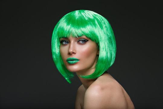 Beautiful girl in green wig