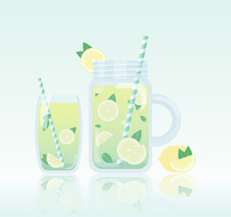 Fresh homemade lemonade vector illustration. Transparent mason jar and glass of lemonade with lemon slices, mint and striped straw.