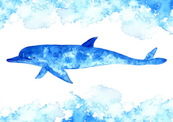Dolphin and water.Watercolor hand drawn illustration.Underwater animal art.