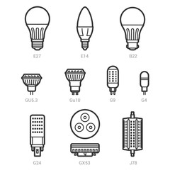LED light lamp bulbs vector outline icon set on white background