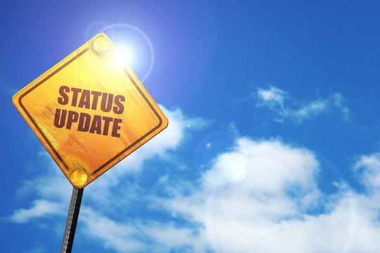 status update, 3D rendering, traffic sign