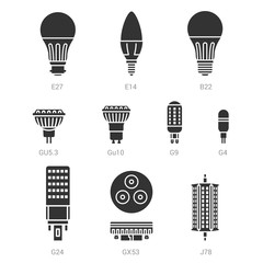 LED light lamp bulbs vector silhouette icon set on white background
