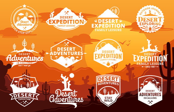 Set of vector desert and outdoor adventures logo