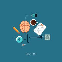 Rest time brain creative flat web concept