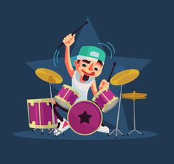 Drummer character plays drums. Vector flat cartoon illustration