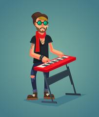 Keyboardist character play music. Vector flat cartoon illustration