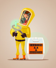 Man in protective suit hold radioactive garbage emissions. Vector flat cartoon illustration
