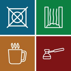 Set of 4 steam outline icons