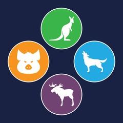 Set of 4 wildlife filled icons