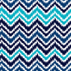 Ethnic blue and white ikat abstract geometric chevron pattern, vector