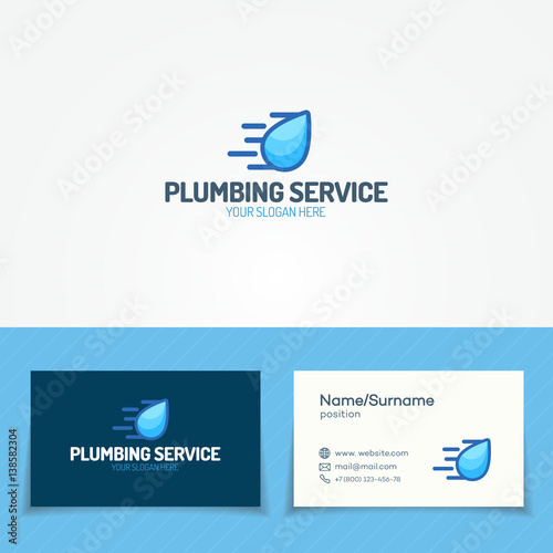 Plumbing Service Logo Set With Flying Water Drop And Business Card