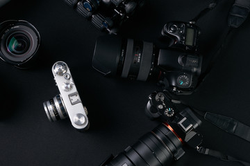 Photography concept with set of dslr cameras and lense .
