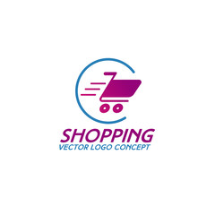 On line shopping logo consisting of shopping cart in circle use for app, fashion store, shop, market and etc. Vector Illustration