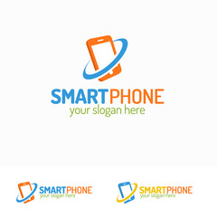 Smartphone logo set with silhouette phone with circle can used for mobile shop, mobile store, service and repair. Perfect for your business design. Vector Illustration