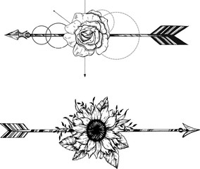 Beautiful boho elements . arrows, feathers and flowers set