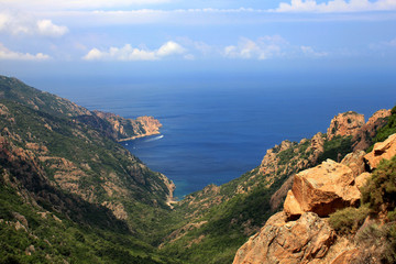 Sea view from the rocky cliffs at Corsica, France