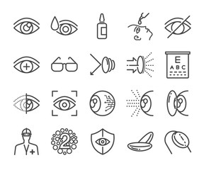 Eye care and optical icons set