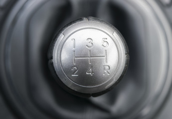 top view of a gear lever, manual gearbox, car interior