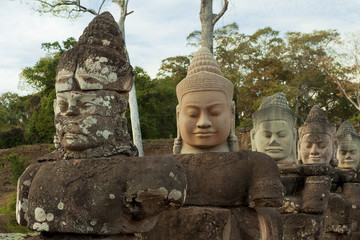 Statues of Khmer deities and gods