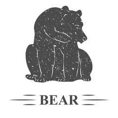 медведь сидит смущенно смотрит перед собой, винтаж