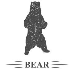медведь стоит и позирует, винтаж