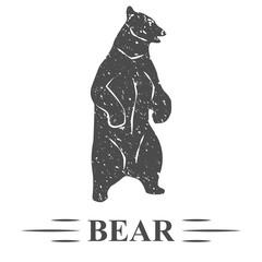 медведь стоит на задних лапах открыл пасть, винтаж