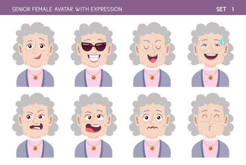 Set of grandma facial emotions. Senior female cartoon style character with different expressions. Vector illustration. Set one of six.