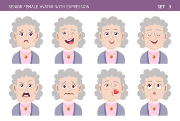 Set of grandma facial emotions. Senior female cartoon style character with different expressions. Vector illustration. Set three of six.
