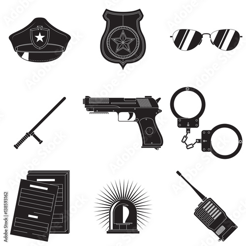 Police Symbols Set Stock Image And Royalty Free Vector Files On