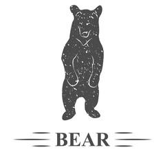 медведь стоит на задних лапах смотрит перед собой, винтаж