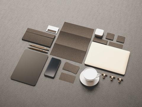 Black Corporate Identity. Branding Mock Up. Office supplies, Gadgets. 3D illustration