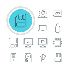 Vector Illustration Of 12 Laptop Icons. Editable Pack Of Laptop, Antivirus, Web Camera And Other Elements.