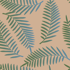 Tropical palm leaves, jungle leaf seamless vector floral pattern background. Trendy colors for textile or book covers, manufacturing, wallpapers, print, gift wrap and scrapbooking.