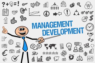Management Development / Mann mit Symbole
