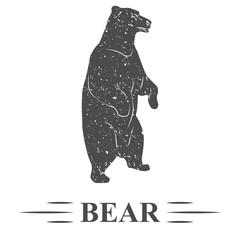 медведь стоит на задних лапах, смотрит в даль, винтаж